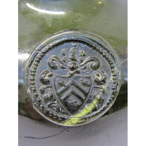 81 - ANTIQUE SEALED WINE BOTTLE, free blown wine bottle with Armorial seal, circa late 17th century , res...