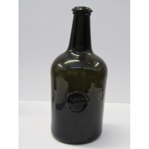 82 - ANTIQUE SEALED WINE BOTTLE, cylindrical body wine bottle with seal, reading