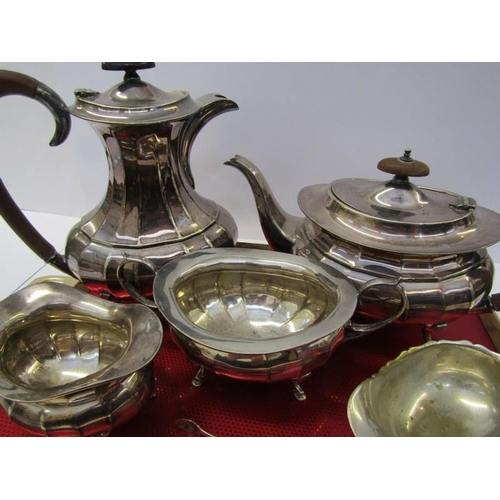 14 - SILVERPLATE, 4 piece silver plated tea service, also sauce boat and sugar tongs...