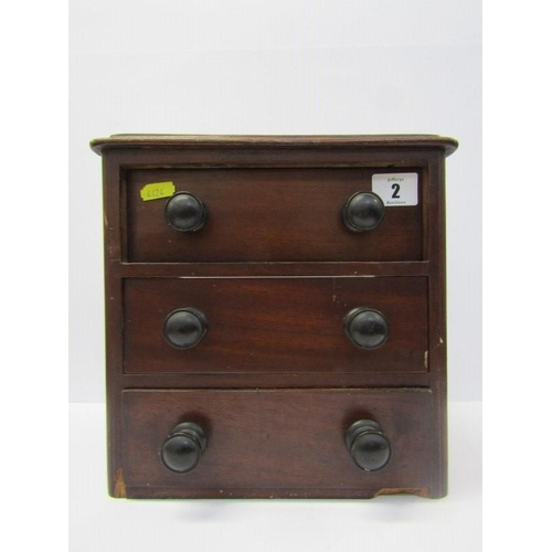 2 - VICTORIAN MINIATURE CHEST, mahogany triple drawer chest a/f...