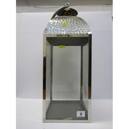 4 - LIGHTING, chromed square base lantern a/f...