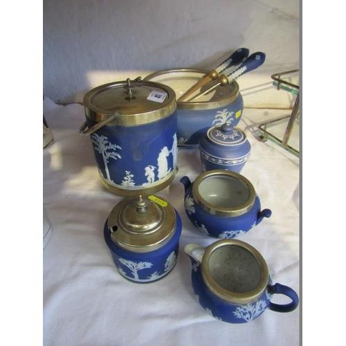 41 - JASPERWARE, Wedgwood biscuit barrel, preserve pot and other tableware...