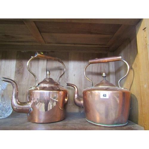 43 - ANTIQUE METALWORK, 2 copper acorn finial circular base kettles...