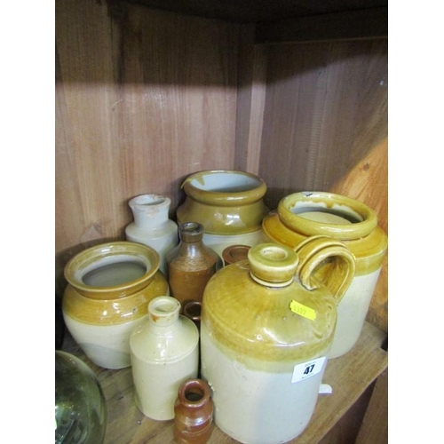 47 - STONEWARE, 3 storage jars, stoneware ink bottles, etc...