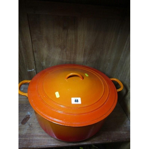 48 - LE CREUSET , orange enamelled large casserole...