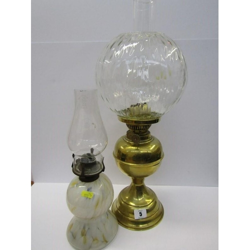 5 - OIL LAMPS, splatter glass oil lamp together with brass oil lamp and clear glass shade...
