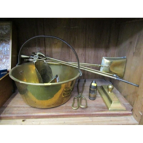 50 - ANTIQUE METALWARE, trench art measure, brass preserve pan, fire irons etc...