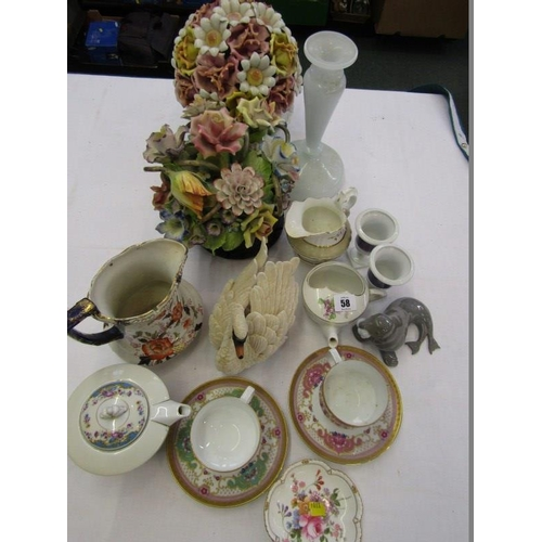 58 - REGENCY MILK JUG, Royal Crown Derby pin dish, 2 floral ornaments and other decorative ware...
