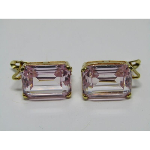 138 - PAIR OF 18ct YELLOW GOLD PINK STONE EARRINGS, large rectangular cut pink stones, possible pink topaz...
