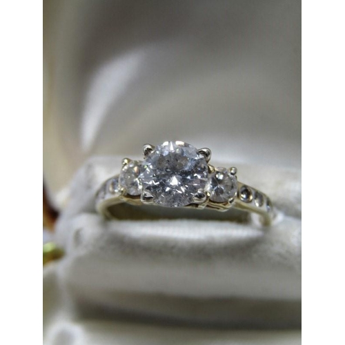 144 - 18ct YELLOW GOLD DIAMOND SOLITAIRE RING; Central diamond of approx 1.1ct in 4 claw setting with acce...