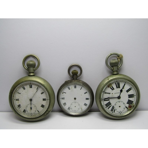 139 - 3 POCKET WATCHES, selection of 3 white metal cased pocket watches all a/f, 2 with screw back...