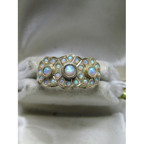 140 - 9ct YELLOW GOLD OPAL CLUSTER RING, unusual cluster in form of 3 daisies, size N/O...