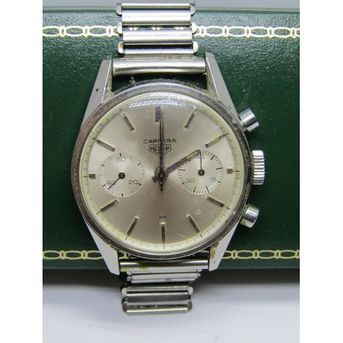 141 - GENTLEMAN'S HEUER CARRERA CHRONOGRAPH WRIST WATCH, appears in partially working condition, mechanism...