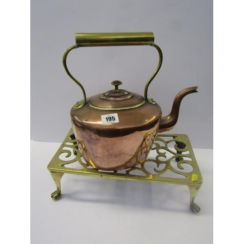 195 - METALWARE, Victorian copper oval bodied kettle and pierced brass trivet...