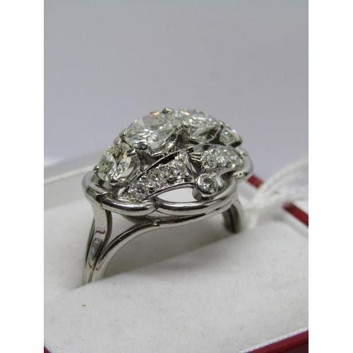 418 - IMPRESSIVE 4 STONE DIAMOND RING; 4 principal diamonds, 2 measuring approx 0.80ct each and 2 measurin...