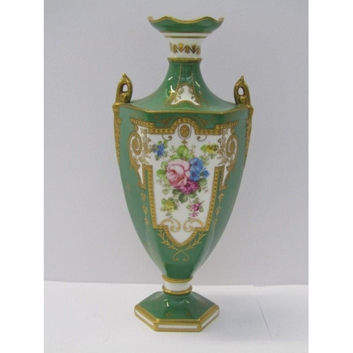 54 - ROYAL CROWN DERBY, apple green ground gilt twin handled hexagonal 7