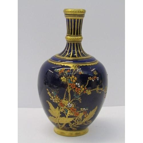 56 - ROYAL CROWN DERBY, gilded blue ground specimen vase decorated with jewel floral displays, 5