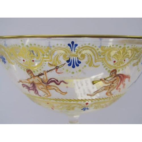 87 - VENETIAN GLASS, a fine gilded and enamelled Salviati champagne glass with bird figure stem, 7