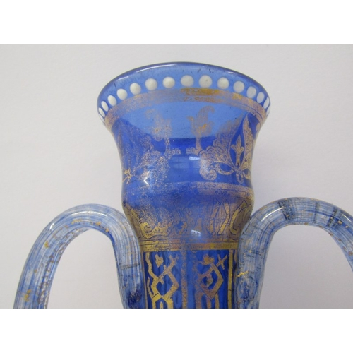 89 - VENETIAN GLASS, a fine gilded twin handled blue glass vase, decorated in Persian style, 8.5