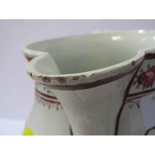 1 - PEARLWARE HARVEST JUG, a good enamelled Farmers harvest jug decorated with farm tools and verse,