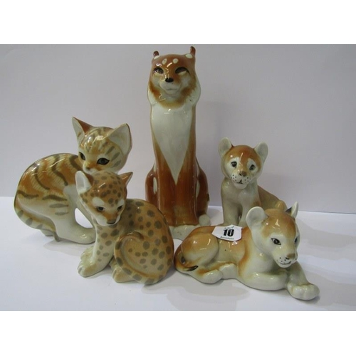 10 - RUSSIAN ANIMALS, collection of 5 porcelain wild cat figures...