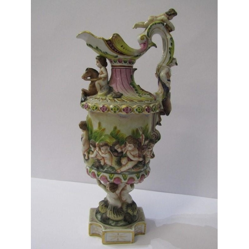 13 - NAPLES EWER, pedestal ornate ewer jug decorated with relief putti on riverbank, 12.5