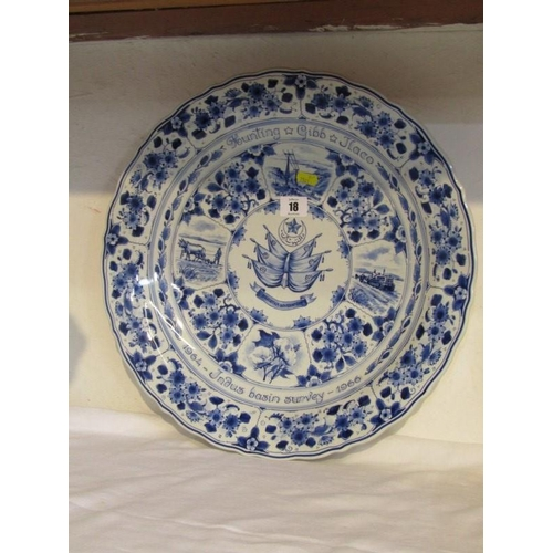 18 - DELFT COMMEMORATIVE CHARGER,