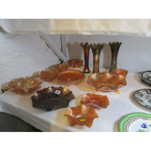 20 - CARNIVAL GLASS, collection of 13 pieces of mainly Marigold carnival glass including Dragon & Lotus d...