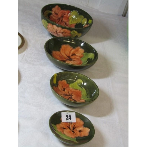 24 - MOORCROFT, set of 4 graduated green ground