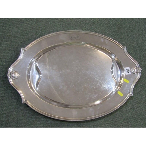 246 - SILVERPLATE, a quality plated oval serving dish, stamped on reverse