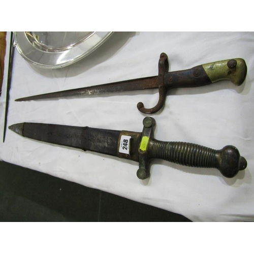 248 - MILITARY, 19th Century continental Gladius broad sword, together with 19th Century French bayonet...