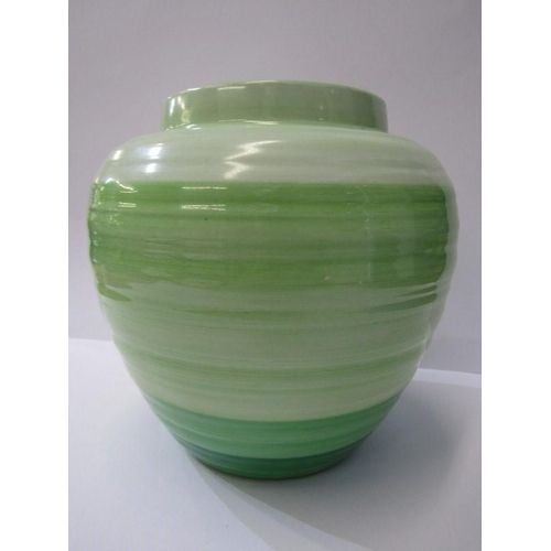 26 - ART DECO, Shelley green banded ginger jar vase...