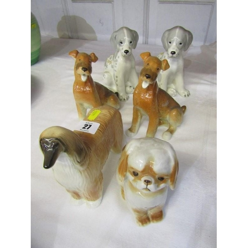 27 - RUSSIAN PORCELAIN DOGS, collection of 6 ceramic dog figures...