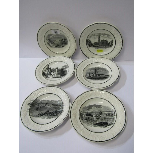 30 - SWANSEA POTTERY CHILDRENS PLATES, set of 6 moulded border transfer childrens plates including