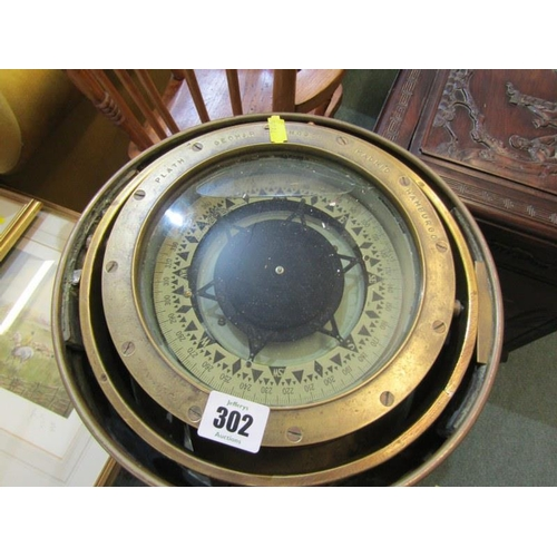 302 - MARITIME, brass plinth base ship's gimballed compass marked