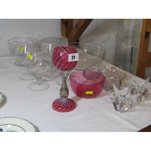 31 - GLASSWARE, cranberry glass goblet and finger bowl, also cut glass lidded jar fruit bowl and other ta...