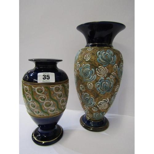 35 - DOULTON STONEWARE, 2 lace impressed oviform vases, 10