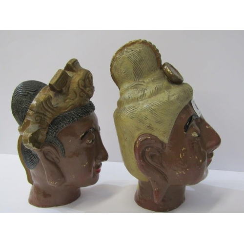 4 - EASTERN CERAMICS, a pair of painted earthenware heads, 8.5