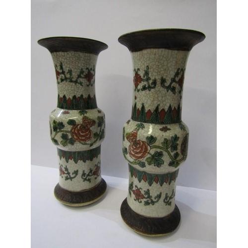 47 - ORIENTAL CERAMICS, pair of crackle glazed splayed neck floral decorated 11.5