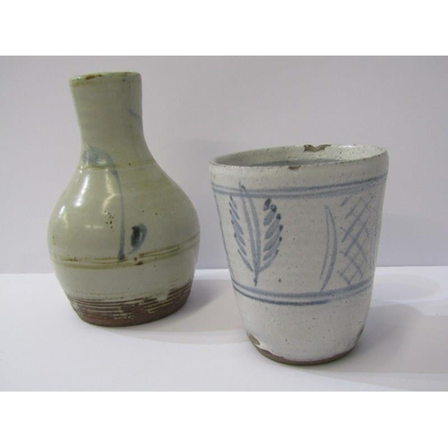 6 - MICHAEL CARDEW, stoneware tumbler and narrow necked specimen vase both with Wenford Bridge and Micha...