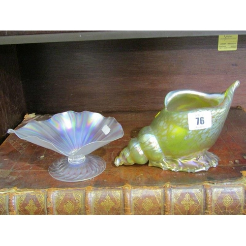 76 - LUSTRE GLASS, conch shell lustre glass flower holder and similar sweetmeat dish...