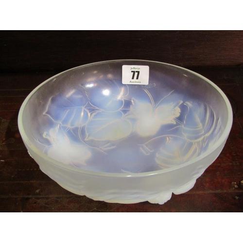 77 - VASELINE GLASS, Etling vaseline glass fruit bowl with hazelnut moulded design, 8