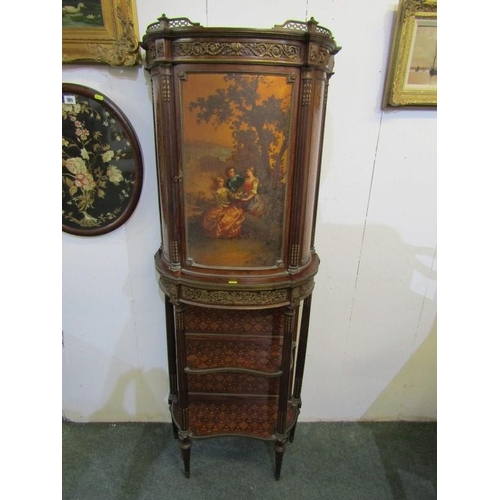 777 - LOUIS SEIZE - DESIGN CABINET, Vernis Martin painted panel door of courting group with floral, marque...