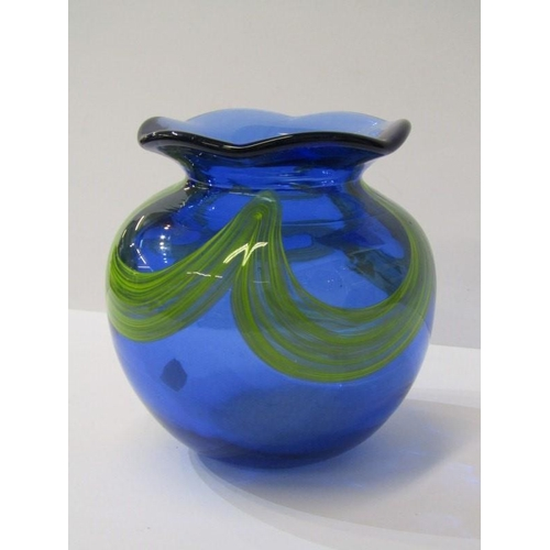 78 - ART GLASS, diamond point signature, blue crinoline neck posy vase, 4.5