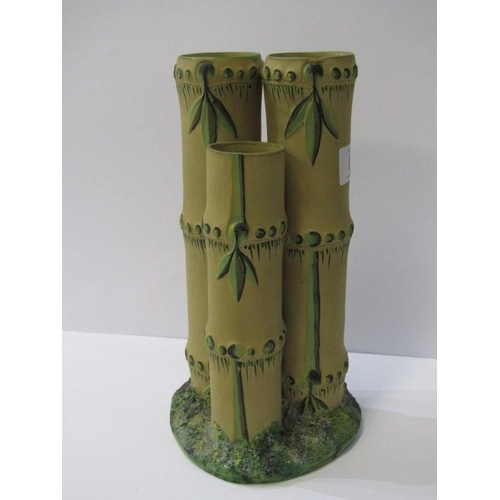 8 - WEDGWOOD CANEWARE, triple bamboo design painted vase, impressed mark, 9.5