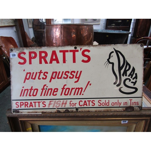 139 - SPRATTS ANIMAL FOOD, rare enamel sign for Spratts,