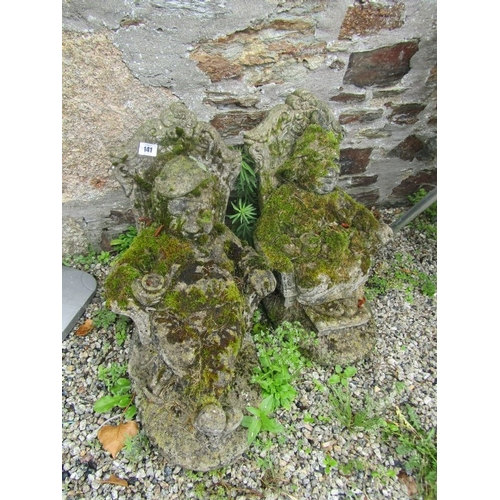 141 - GARDEN VINTAGE STATUES, pair vintage concrete statues of seated figures, 19