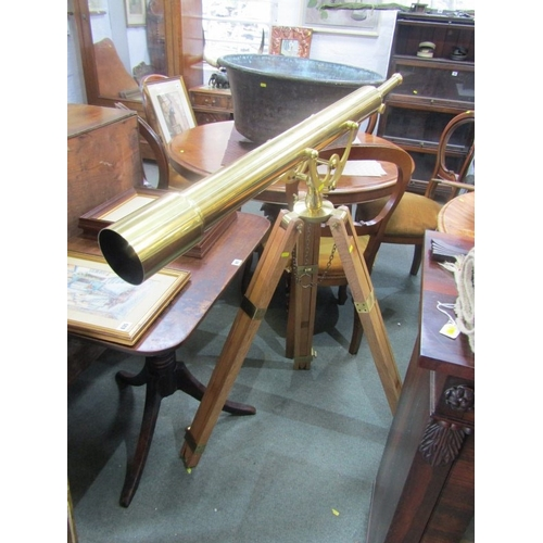 145 - BRASS TELESCOPE, impressive modern brass telescope on tripod base...