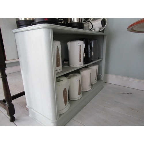 10 - PAINTED SIDE CABINET, with shelves 42