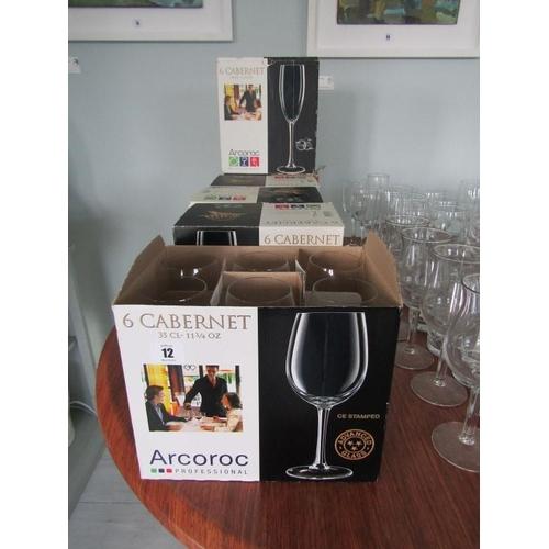 12 - WINE GLASSES, 6 boxes of 6 Cabernet wine glasses...